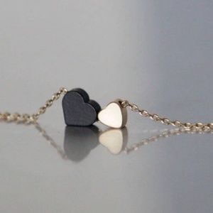 handmade Jewelry - Black Gold Heart Necklace/bracelet/anklet Handmade